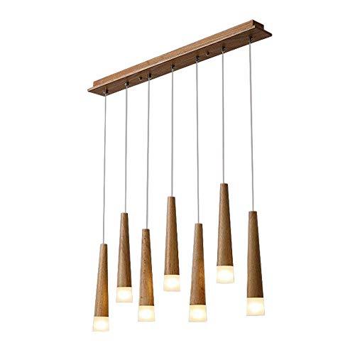 LED Esszimmer Pendelleuchte 7 Flammig Modern Holz Esstisch Hängeleuchte, Rustikal Einfach Design Leuchte, Kronleuchter Esszimmerlampe Esstischlampe Beleuchtung, Acryl Schirm, G4 Lampe 3W Warm Licht (Rustikal Esstisch Holz)