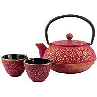 Bredemeijer 455366Tetera, 2Tazas, 1Filtro de té, Hierro Fundido, Rojo, 20x 10x 10cm, 4Unidades