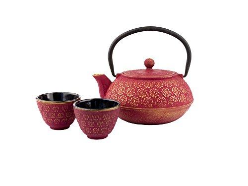 Bredemeijer g015pg, set regalo shanghai, 0,6l, teiera con 2 tazze, in ghisa, rosa, 23,2x 23,2x 11,40cm