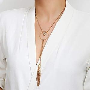 XUHAHAXL Halskette/Schmuck, Klassische, Persönlichkeit, Übertreibung, Geometrisches Dreieck, Diamant, Fransen Anhänger Halskette.