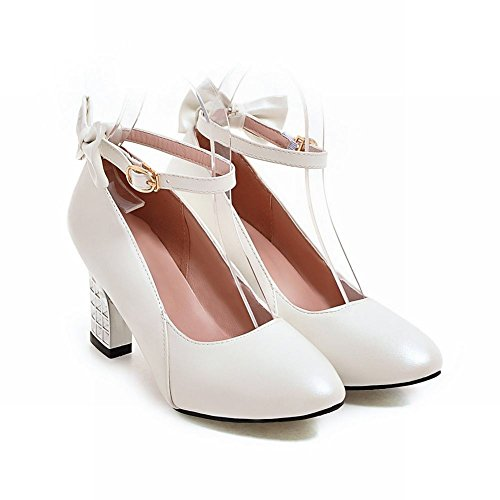 Mee Shoes Damen chunky heels ankle strap Schnalle Pumps Weiß