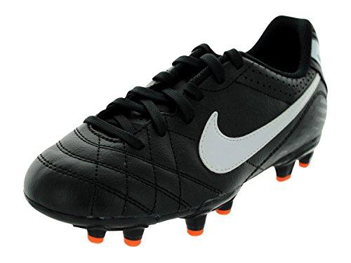 Nike Junior Tiempo Natural IV Fester Boden Fußballstiefel schwarz - orange