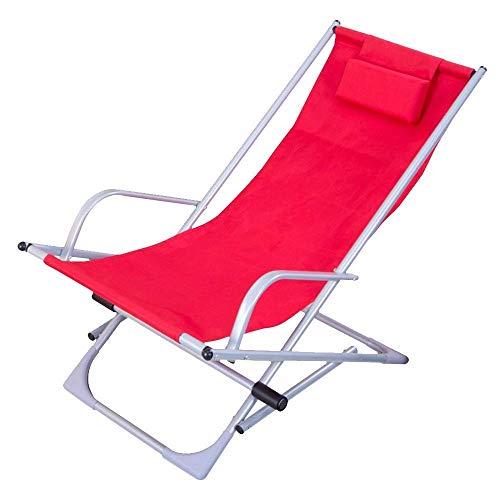 LEOO Liegestuhl, Klappbar und verstellbar, 160 ° Komfort Stretch Ergonomisches Design Strand/Balkon Mittagspause Klappstuhl (Farbe : Rot)