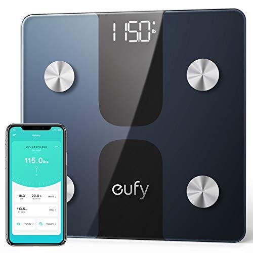 Körperfettwaage, eufy Smart Scale C1 Bluetooth Personenwaage mit APP, LED-Anzeige, misst Gewicht/Körperfett/BMI/Körperzusammensetzung, Automatisches An- / Ausschalten und Nullsetzen, Schwarz