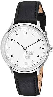 Mondaine Helvetica No1 Regular 33mm MH1.R1210.LB Reloj de pulsera Cuarzo Mujer correa de Cuero Negro de Mondaine
