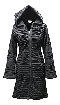 Fully fleece lined Pixie Hooded Gothic Style Long Black Jacket With A Slashed Layer,Emo Type,Unique (s/m)