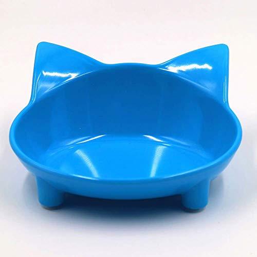 EliteMill Katzennäpfe, Futterschüssel Katze, Flache Katzenfutter Napf Breit Schale rutschfest Katzen Futterschüssel für Erleichterung Barthaare Müdigkeit - Blau - Breite Schale