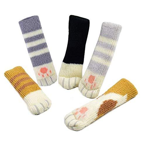 Yakamoz - 20 calcetines de silla (5 juegos), cubiertas de patas de sillas, reduce el ruido, protector de suelo