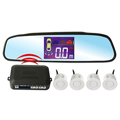 PZ502-W Rétroviseur LCD Radar De Recul Sans Fil Pour Voiture Aide Au Stationnement Numérique Alarme Avec 4 Capteurs Blanc