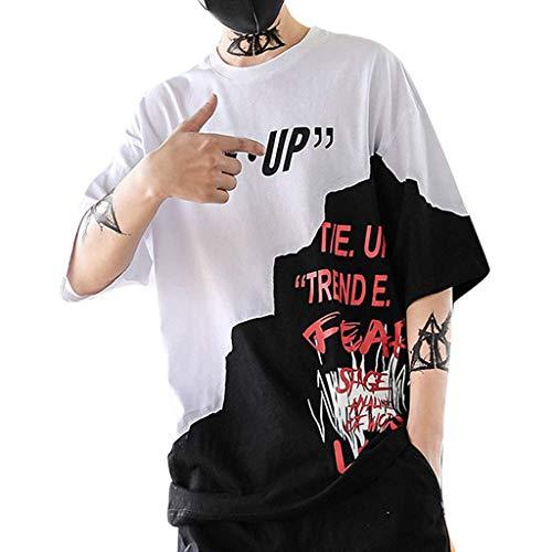 EUZeo Unisex HipHop Stil Patchwork Kurzarm T-Shirt Buchstaben gedruckt Stilvoll Damen Herren Teenagers Kurzärmelig Strassenmode Streetwear Rundausschnitt Sport Bekleidung Sweatshirts Oberteile Hemd