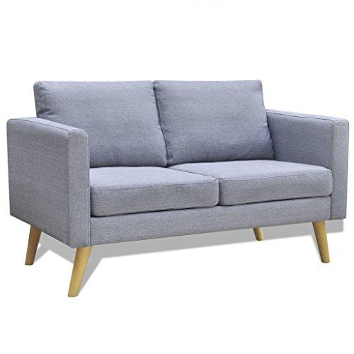 Dick Gepolsterte Kissen (Tidyard 2-Sitzer Sofa, 2 Sitzer Polstersofa Stoffsofa mit Dick Gepolsterte und Kissen, 116 x 70 x 73 cm (L x B x H), Hellgrau)