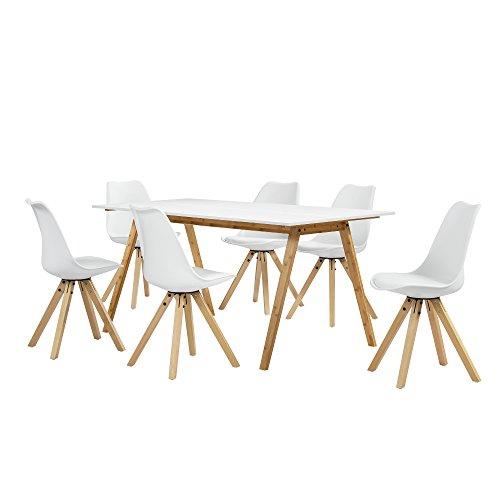 [en.casa] Esstisch Bambus weiß mit 6 Stühlen weiß Gepolstert 180x80cm Esszimmer Essgruppe Küche - Bambus-eiche-stuhl