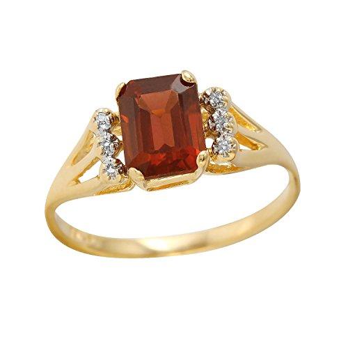 1,93Karat Granat Diamant 10ct Gelb Gold Ring für Frauen (Diamant-ring Gelb-gold)