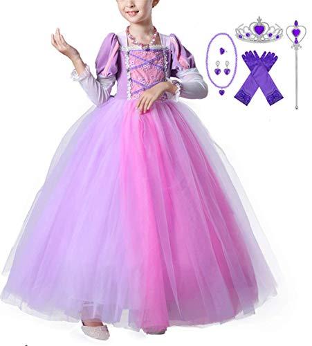 Kostüm Rapunzel Tutu - EMIN Kinder Mädchen Prinzessin Rapunzel Kleid Langarm Tutu Kostüm Verkleidung Geburtstag Party Ankleiden Karneval Faschingskostüm Halloween Hochzeit Festkleid Blumenmädchenkleid Abendkleid Maxikleid