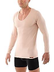 Albert Kreuz V-Unterhemd unsichtbar Business Langarm-Herrenunterhemd aus Stretch-Baumwolle Hautfarbe Nude 6/L