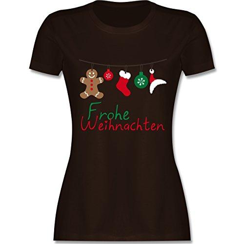 Weihnachten & Silvester - Frohe Weihnachten Girlande - XXL - Braun - L191 - Damen Tshirt und Frauen T-Shirt