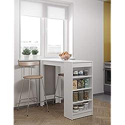 Symbiosis 8080A2100X00 Contemporain Table Bar avec Rangements Blanc 115 x 50 x 102,7 cm