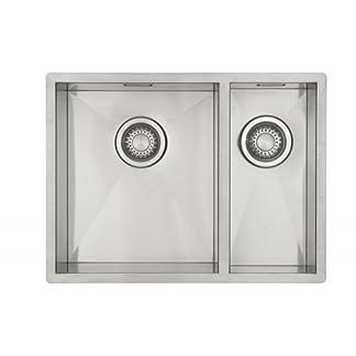 Fregadero de Cocina Mizzo Quadro 34-18 | Acero Inoxidable 304 | Mueble de 60 cm | Montaje Bajo o Sobre Encimera o al Ras | Radio 0mm | 1.5 Senos