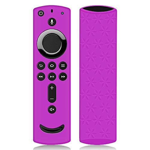 Hydream Schutzhülle für Fire TV Stick 4K / 4K Ultra HD mit der Neuen Alexa-Sprachfernbedienung (2.Gen), Flexibel Leichte Rutschfeste Stoßfeste Silikon Fernbedienung Silikonhülle Cover Hülle (Violett)
