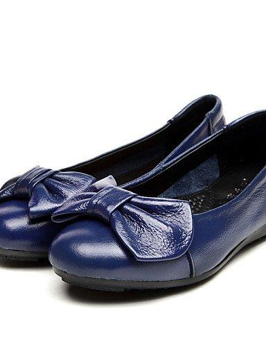 ZQ Scarpe Donna - Ballerine - Tempo libero / Ufficio e lavoro / Casual - Comoda / Punta arrotondata - Piatto - Di pelle - Nero / Blu , blue-us5.5 / eu36 / uk3.5 / cn35 , blue-us5.5 / eu36 / uk3.5 / cn blue-us5.5 / eu36 / uk3.5 / cn35