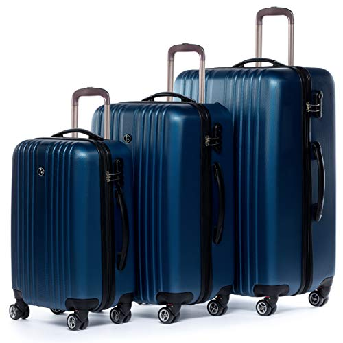 FERGÉ Kofferset Hartschale 3-teilig erweiterbar Toulouse Trolley-Set - Handgepäck 55 cm L XL - 3er Hartschalenkoffer Roll-Koffer 4 Rollen blau