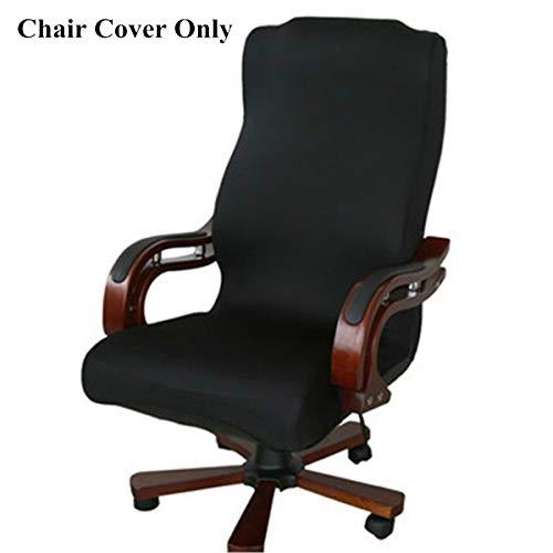 Housse de chaise Caveen - Style simplissime - Amovible, extensible - Couvre les fauteuils universels - Pour bureau, noir, Taille L
