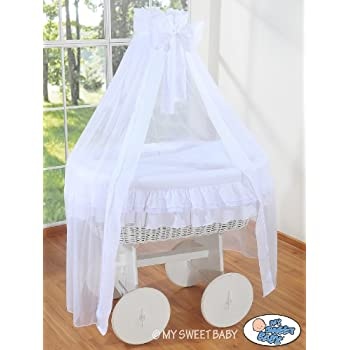 Deluxe Drape Wicker Crib Moses Basket Bassinet Solid Wood