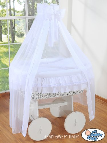 Deluxe White Drape Heart Wicker Crib Pink My Sweet Baby