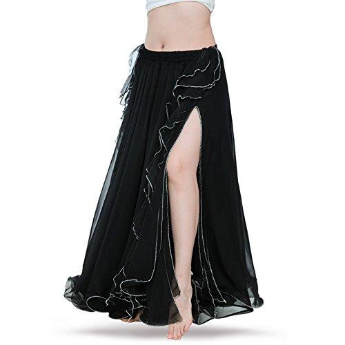 ROYAL SMEELA Gute Qualität Neues Damen Bauchtanz Rock Kostüm Tanzen Ausbildung Chiffon Röcke Kleid Performance (Schwarz Und Gelb Tanz Kostüm)
