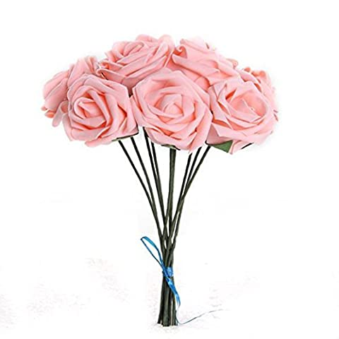 10Pcs Artificial Flower Foam Rose Wedding Bridesmaid Bridal Bouquet Party Decor Pink&5.5Cm by OKST