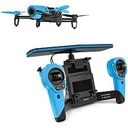 Parrot BEBOP - Dron cuadricóptero (Full HD 1080P, 14 Mpx, 47 Km/h, 11 minutos de vuelo, 8GB, GPS, Vídeo Live Streaming) + Mando Skycontroller + 2 baterías, color azul