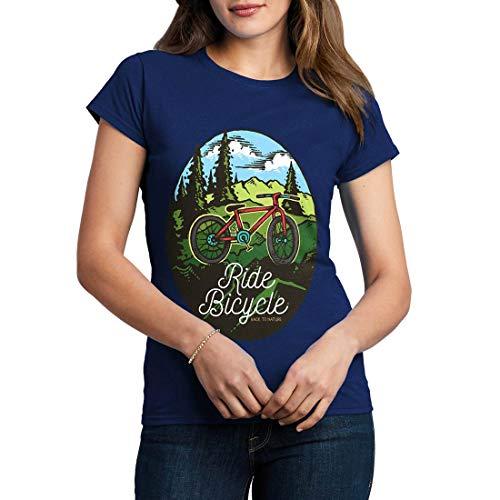 C758WCNTN Damen T-Shirt Ride Bicycle Bikes Racing Team Club Shop Born to Ride Pedal Pusher Full Speed Legend Classic(Medium,Navy) -