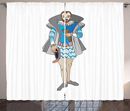 ABAKUHAUS Renaissance Rustikaler Vorhang, Rokoko Aristocrat Man, Wohnzimmer Universalband Gardinen...