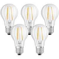 Osram LED Base Classic A Lampe, Sockel: E27, Warm White, 2700 K, 7 W, Ersatz für 60-W-Glühbirne, klar , 5er Packung
