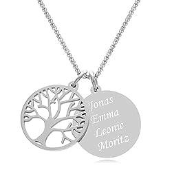 Timando Damen Kette Baum des Lebens mit Gravur Anhänger Edelstahl Namenskette 45 cm