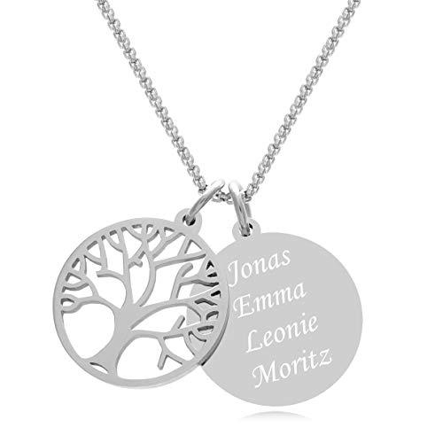 Timando Damen Kette Baum des Lebens mit Gravur Anhänger Edelstahl Namenskette 40 cm
