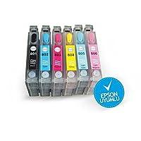 EPSON T0801-T0806 UYUMLU Kolay Dolan Kartuşlar (DOLU) Claria MÜREKKEPLİ - P50/ PX650/ PX660/ PX700/ PX720/ PX800/ PX810/ PX830/ R265/ R285/ R360/ RX560/ RX585/ RX685