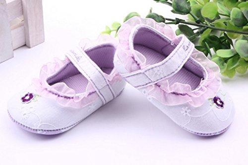 Bigood Chaussure Bébé Princesse Fille Dentelle Antidérapant Premier Pas Fleur Violet
