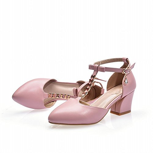 Mee Shoes Damen chunky heels T-Strap Schnalle Strass Pumps Pink