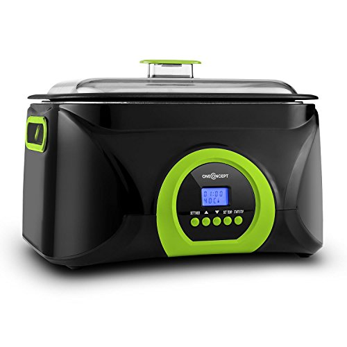 oneConcept Sanssouci olla lenta de cocción al vacío (5 L, 300 W, cocción a baja temperatura entre 40 y 99 °C, recipiente antiadherente de aluminio, diseño compacto) - negro/verde