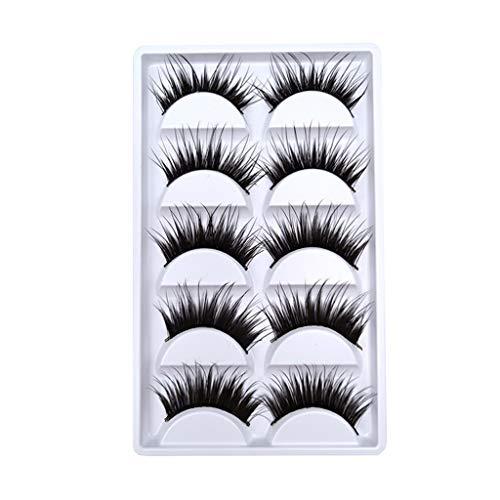 Hffan 3D Falsche Wimpern, Bunt Künstliche Wimpern Handgemachte Leichte Wimpern Natürliche Suchen Full Cover Kein Kleber, Geeignet für die Arbeit/Dating/Party (5Pair)