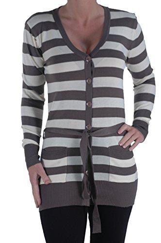 EyeCatch - Gilet cardigan a rayures manches longues - Femme moka Crème
