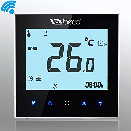 BECA Wi-Fi Interruptor de control LCD de pantalla táctil 16A Calefacción eléctrica termostato calentador programable inalámbrico (16A para la calefacción eléctrica (WIFI), negro)