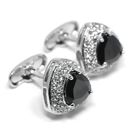 MESE London Black Stone Triangle Vintage Manschettenknöpfe Silber Uberzogen in Luxus ()