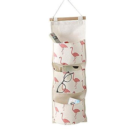 Amknn Flamingo Impression Panier de rangement 3Poche à fixation murale Armoire murale suspendre Sac pochette Cosmétique Organiseur de jouets papeterie