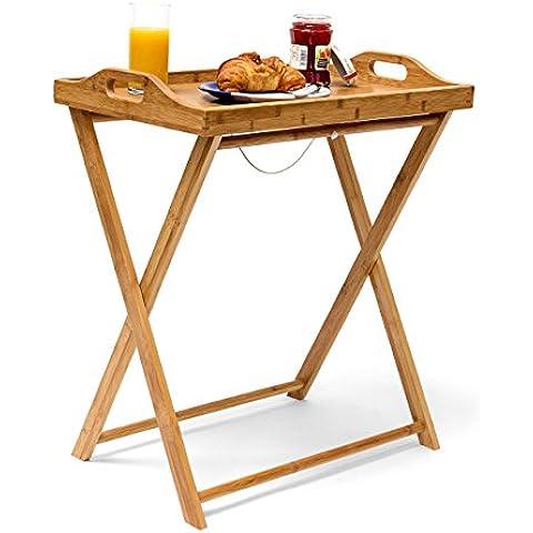 Relaxdays - Mesa auxiliar de bambú, 63.5 x 55 x 35 cm, bandeja desayuno cena almuerzo, mesa plegable,