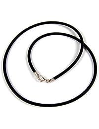 Minott Kautschuk Band Kette Halsband Ø ca. 2mm schwarz 22074, Länge:42 cm