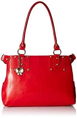 Butterflies Women's Handbag (Red) (BNS 0540RD)