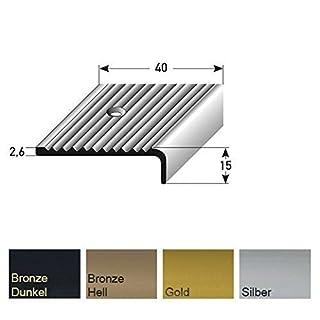 Aluminium Treppenwinkel-Profil - 100cm, 15x40mm, silber ✓ Rutschhemmend ✓ Robust ✓ Leichte Montage | Treppenkanten-Profil, Treppenstufen-Profil aus Alu | Gelochtes Stufenkanten-Profil, Treppenprofil | Treppenkantenschutz für Laminat, Parkett, Teppich