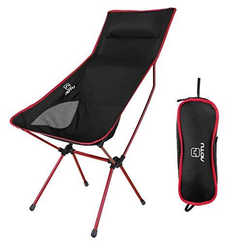 Mesh-eins Sessel (OUTAD Camping Fischen Klappstühle mit tragbare Tragetasche, Ultraleicht Leicht Faltbar für Wandern Sporting Touring Outdoor Events, Komfortable High Back Design,Rote)